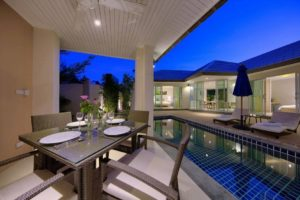 Villa Outdoor Dining Area and Pool