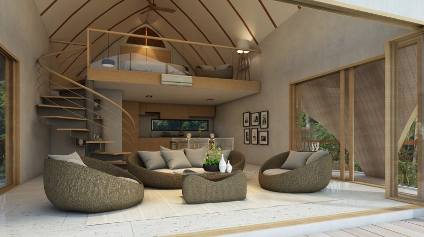 Cottage Living Area and Bedroom